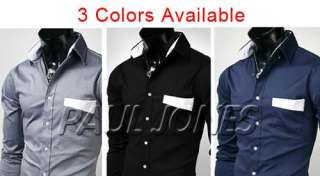 New Mens Luxury Patched Stylish Casual Dress Slim Fit Shirts IN 3
