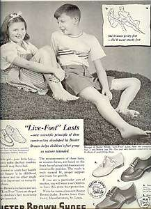 40s vintage BUSTER BROWN boys/girls SHOES print AD art