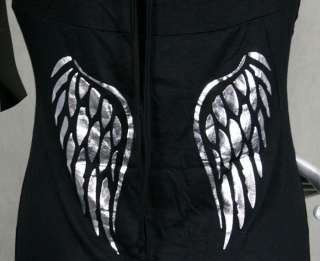 AFFLICTION SINFUL womens LOLA dress black Silver foil Wings lace up