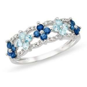 Carat Blue Topaz, Sapphire & Diamond 10K White Gold Ring Jewelry