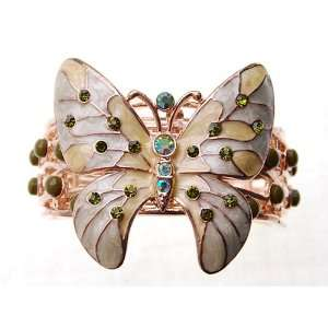 Sea Foam Beige Enamel Green Rhinestone Butterfly Cuff Bangle Bracelet