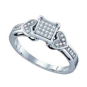 925 White Gold Finish Diamond Square Heart Bridal Band Ring Jewelry