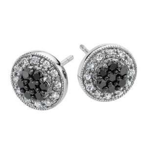 White and Black Diamond Stud Earrings 1/4 Carat (ctw) in
