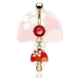 Gold Plated / Red CZ / Gemed Mushroom Belly Ring