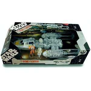 Star Wars Gold Squadron Y Wing Fighter With Pilot and Droid  Toys