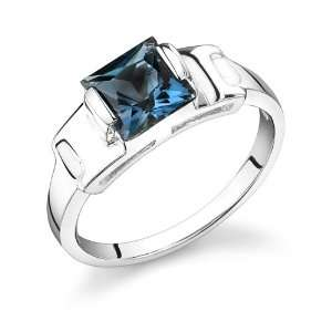00 Carats Princess Cut London Blue Topaz Ring in Sterling Silver