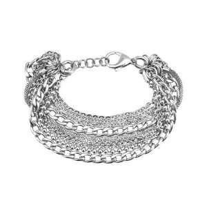 Jewelry Womens Stainless Steel Multi Chain Bracelet.7 inches long