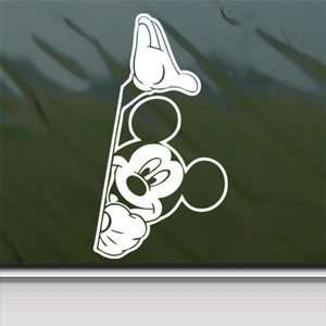 MICKEY MOUSE White Sticker Car Laptop Vinyl Window White