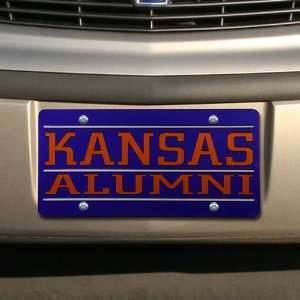 Kansas Jayhawks Royal Blue Mirrored Alumni License Plate Automotive
