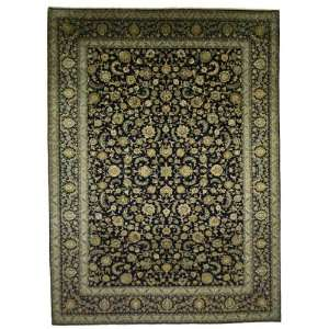 104 x 142 Navy Blue Persian Hand Knotted Wool Kashan Rug