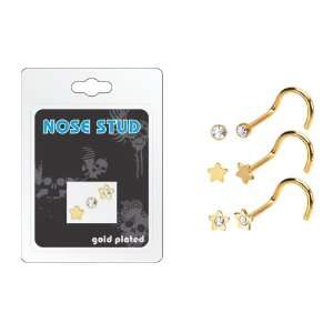 Surgical Steel Gold Plated Nose Ring Stud 3 pcs/pack   Multi Packs