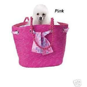 Key Largo Woven Straw DOG PET Carrier Pink SMALL