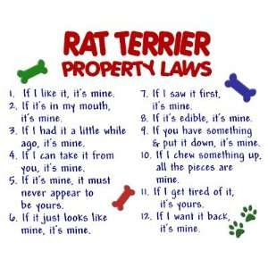 Rat Terrier Property Laws 2 Fridge Magnet