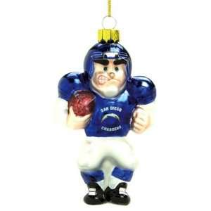 NFL 5.5 Glass Football Player Ornament   San Diego Chargers ( Set of