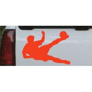 Soccer Player Sports Car Window Wall Laptop Decal Sticker    Red 12in