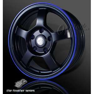 5 SPOKE 5 x LUG BLACK/BLUE LIP 15 X 6 / OFFSET 40MM