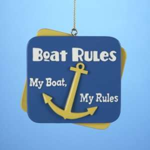 Club Pack of 12 Beach Party Nautical My Boat Rules Christmas Ornaments