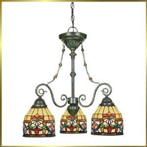 Tiffany Chandelier, QZTFBF5103VB, 3 lights, Antique Bronze, 22 wide X