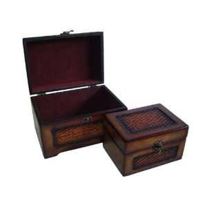 Set of 2, Wood Jewelry Box Chests Antique Finish Decor