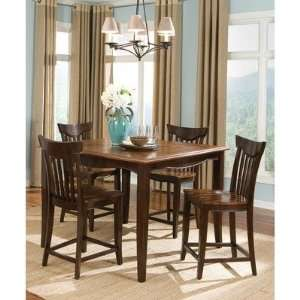 Piece Counter Height Table Set in Cherry and Black Furniture & Decor