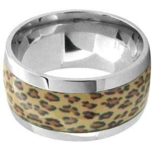 Size 6   Inox Jewelry Leopard Print 316L Stainless Steel Ring Jewelry