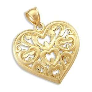 14k Yellow Gold Unique Large Heart Love Charm Pendant Jewelry