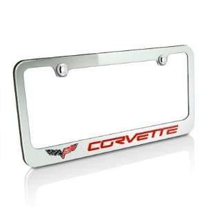 Chevrolet Red Corvette C6 Chrome Metal Auto License Plate