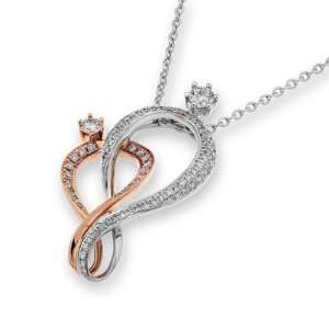 18K Rose And White Gold Diamond Dance Couple Pendant w/Sterling Silver