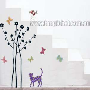 Butterflies, Cat & Trees Removable Wall Sticker/Decal