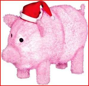 Adorable Pink Santa Pig Led Lighted Christmas Outdoor Decor