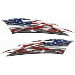 Reflective American Flag Motorcycle Gas Tank Flame Decals Automotive