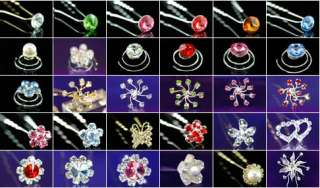 pcsX Wedding Heart Crystal Rhinestone Hair Pins P1137