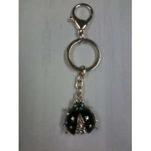 Black Rhinestone Lady Bug Key Chain   Purse Charm